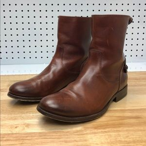 Frye Melissa Button Leather Brown Short Boots